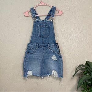 8th Of LA Distressed Denim Overall Mini Dress